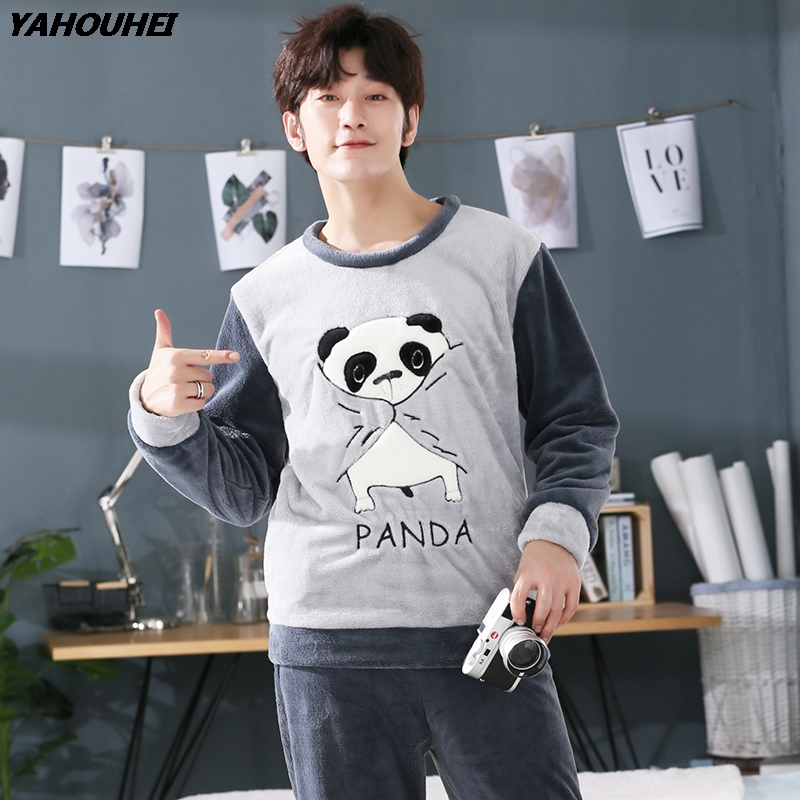 Plus Size 5XL Thick Warm Flannel Pajamas Sets For Men 2019 Winter Long Sleeve Coral Velvet Pyjama Cartoon Panda Homewear Clothes