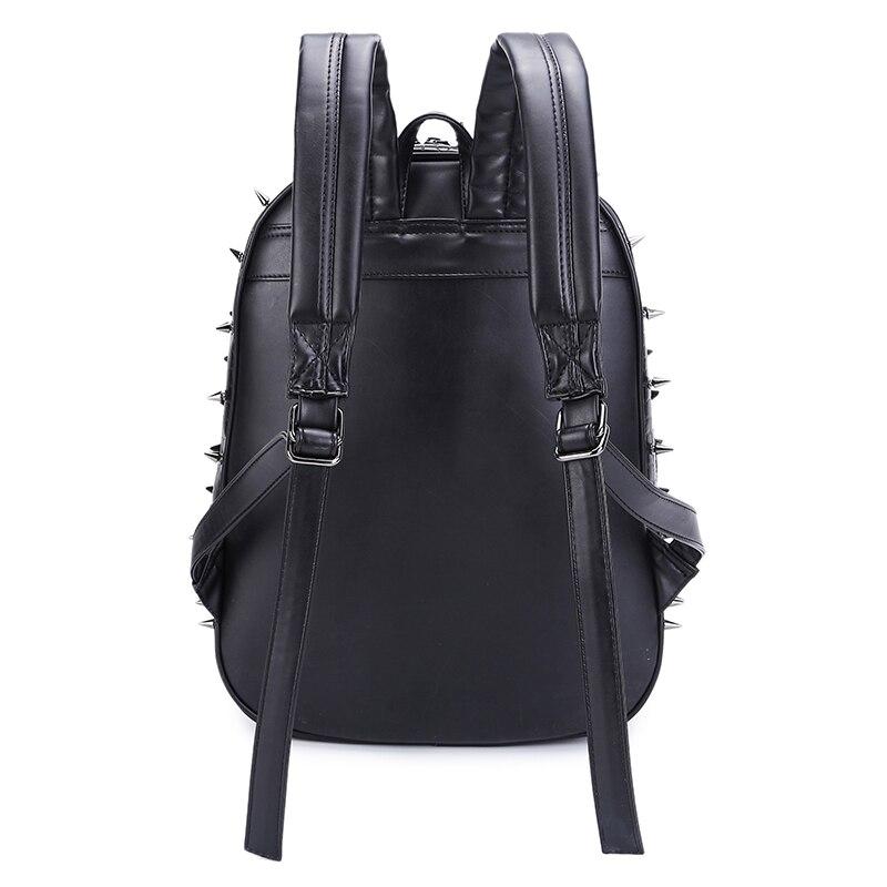 3D Hedgehog Männer Punk Rock Rucksack Mode Laptop Taschen Kühle Mens Schule Tasche Niet Leder Schulter Taschen - 5