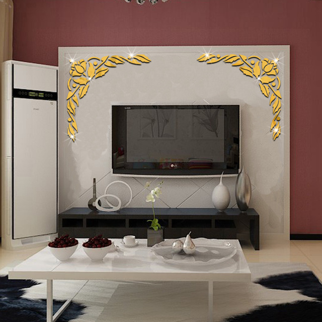 50x51 cm fleurs motif miroir mur tv salon fond d coration. Black Bedroom Furniture Sets. Home Design Ideas