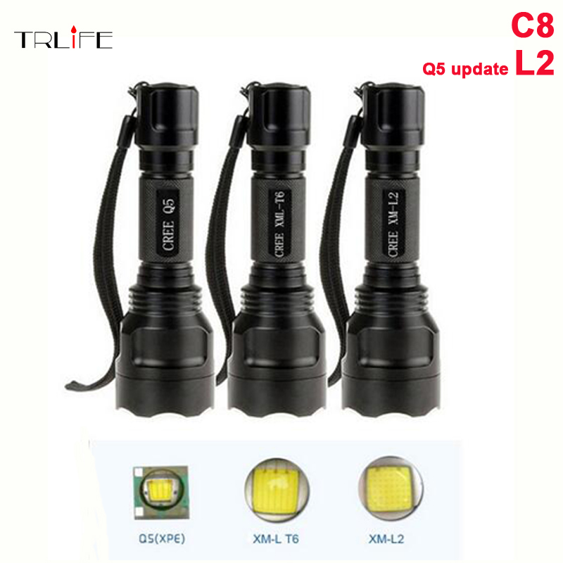 Super Bright C8 LED CREE XML L2 Flashlight 5000LM Tactical Flash light Aluminum Torch Camping Lamp Light Outdoor  Ride Lighting 2x18650 powerful led flashlight 5000 lumen super bright zoomable focus led torch cree xml t6 led tactical outdoor lamp light