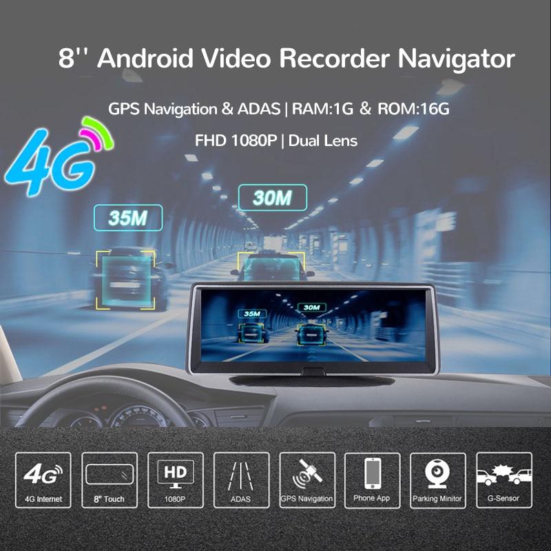 E ACE 4G Android Auto Dvr 8 Inch Fhd 1080P Auto Camera Video Recorder Dual Lens Dvr Gps Navigatie adas Remote Monitor Dash Cam - 2