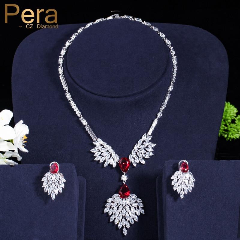 Pera Luxury Nigerian Women Party Costume Accessories Red Cubic Zirconia Stone Big Wedding Bridal Jewelry Sets For Brides J091 цена