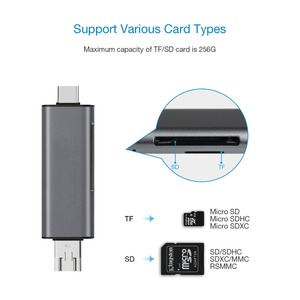 Image 4 - JZYuan todo en 1 USB 2,0 tipo C lector de tarjetas de Metal de alta velocidad SD TF Lector de Tarjetas Micro SD Micro USB multimemoria lector de tarjetas OTG