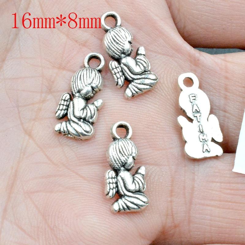 FLTMRH 10PCS 16*8mm   Mixed Tibetan Silver Plated Girl Angel Fairy Cupid Charms Pendants Jewelry Making Bracelet Accessories Diy