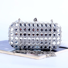 Hot Sale New 2016 Fashion High-grade Diamond Evening Bag Handmade Rhinestone Clutch Bag Bling Banquet Bag with Shoulder Chain