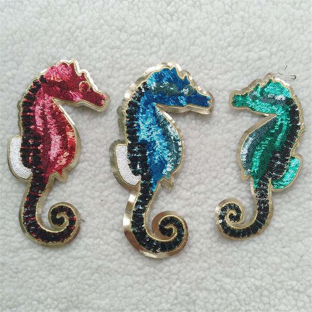 DoreenBeads Seahorse Tier Muster Patch Pailletten Applizierte Nähen ...