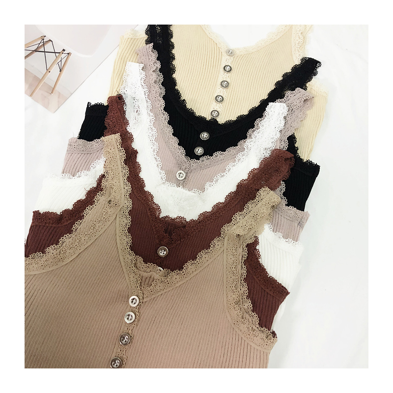 Camis Top summer lace stitching bottom strap camisole female retro chic sexy Crop Top metal button sleeveless Tank Top Women (7)