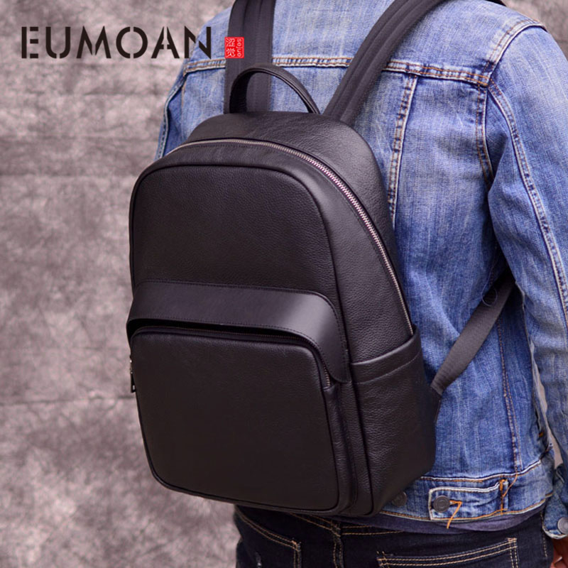 EUMOAN Outdoor leisure mens backpack leather shoulder bag first layer travel computer