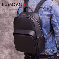 EUMOAN Outdoor leisure men's backpack leather shoulder bag first layer leather travel computer bag