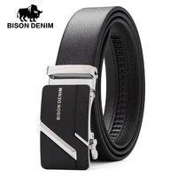 BISON DENIM Genuine Leather Male Belts Business Belt Mens Strap High Quality Black Waist Belt Gift