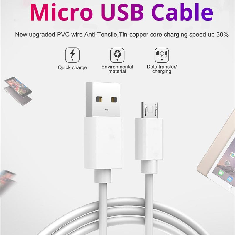 Micro <font><b>USB</b></font> <font><b>Cable</b></font> 2.4A Fast Charge <font><b>USB</b></font> Data <font><b>Cable</b></font> for Samsung S7 Edge Xiaomi Huawei Tablet Android Mobile Phone <font><b>3m</b></font> Charging Cord image