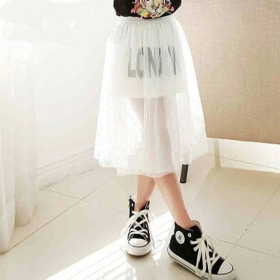 Girls Children's Summer Wear New Gauze Leisure Skirts Kids Clothing White Letters Mesh