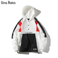 Una Reta Hooded Jackets Men Autumn New Patchwork Color Block Half Button Pullover Tracksuit Coat Man Hip Hop Streetwear Jacket(China)