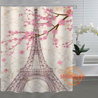 Paris Eiffel Tower Custom Shower Curtain Bathroom Fabric For Bathr Decor Bathroom Curtain Acceptable Custom Curtains
