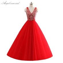e74f957530f6f Lüks balo elbiseleri Crystal Ball Abiye l v boyun tül tatlı 16 Elbiseler  Custom Made Prenses Kırmızı örgün parti elbise kız