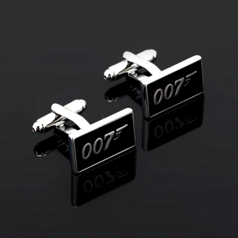 Promotion!! 007 Cufflinks black color fashion novelty james bond movie design copper material Wedding Cuff Links Custom Jewelry image