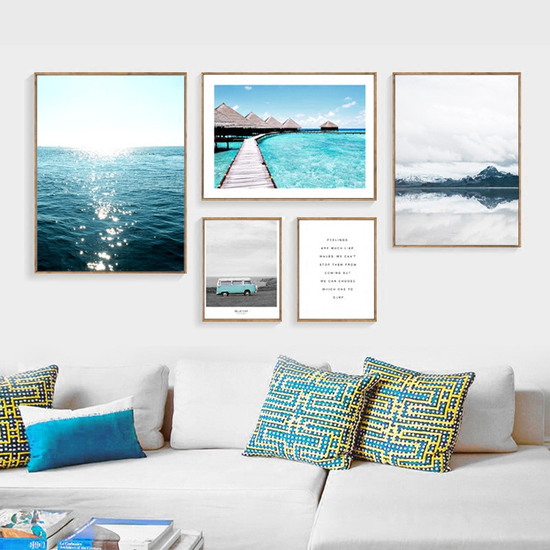 FGHGF Nordic Decoration Blue Sea Posters And Prints Wall Art Canvas Painting Lienzos Decorativo Poster Canvas Art  Picture