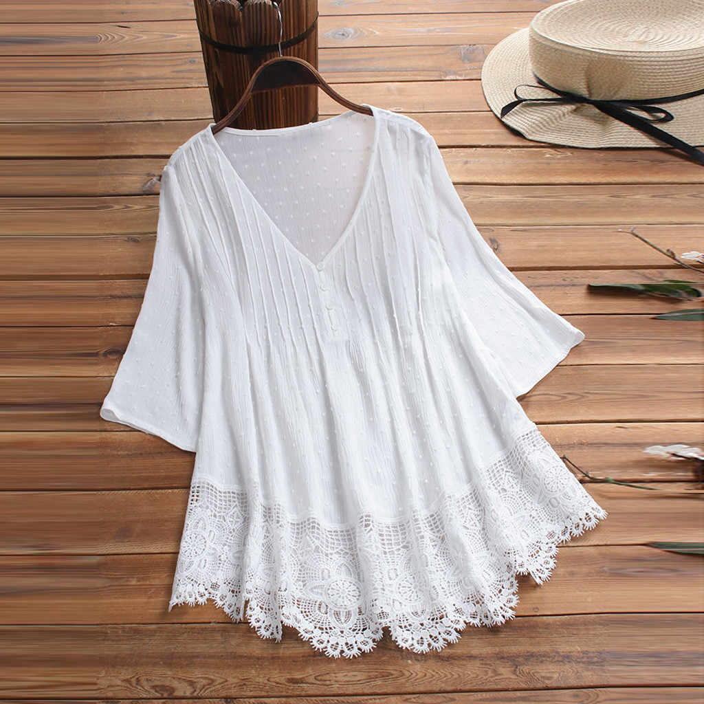 Summer Solid Blouse Plus Size S-5XL Women Vintage Jacquard Three Quarter Lace V-Neck Button Top Blouse Wholesale N4
