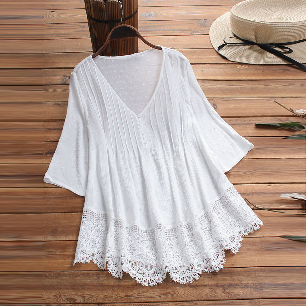 Summer Solid Blouse Plus Size S-5XL Women Vintage Jacquard Three Quarter Lace V-Neck Button Top Blouse Wholesale N4