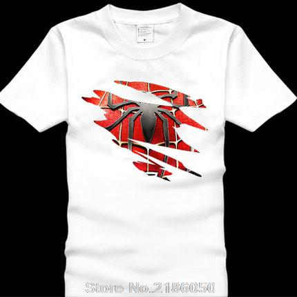 172ce4198 Spider-man Logo Print T-shirt Men Black Superhero Fashion T Shirt Spiderman  Tees Tops Boy Tshirt The Avengers Clothing
