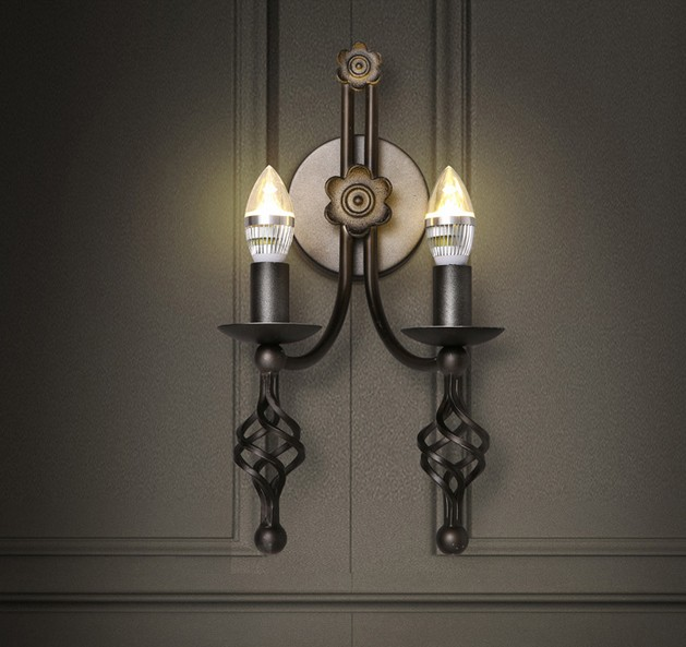 American Loft Style LED Wall Light Fixtures Iron Candle Sconce For Dining Room Bedside
