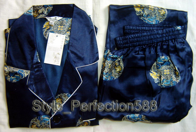 Free shipping Navy blue Men s Polyester Satin Robe Pajama Sets Sleepwear Nightwear SIZE S M