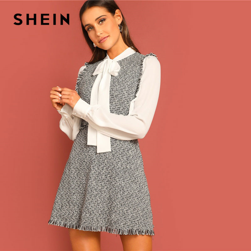 538978afbe Detail Feedback Questions about SHEIN Bow Tie Neck Frayed Trim 2 In 1 Tweed  Dress Stand Neck Long Sleeve Women Going Out Elegant High Waist Dresses on  ...