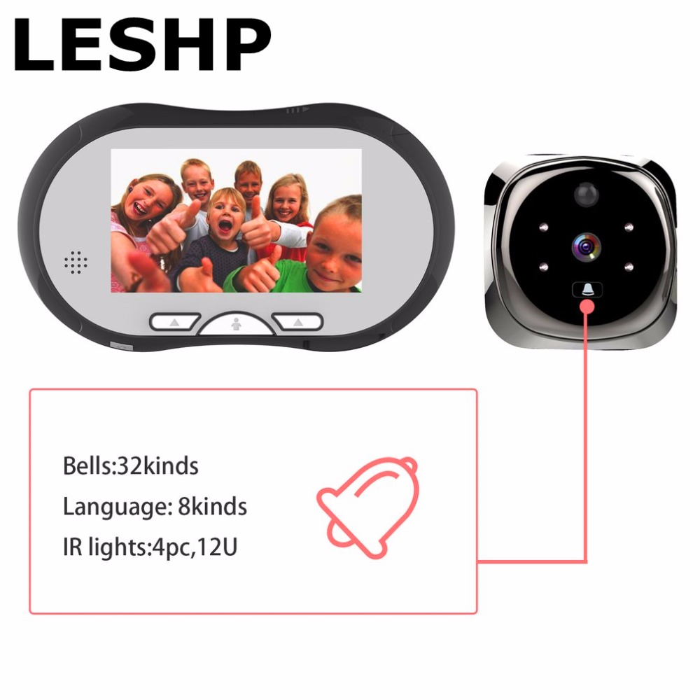 4.3 Inch HD Smart Door Peephole Viewer Video Record Door Viewers Camera IR Night Vision PIR Motion Sensor No Disturb Doorbell digital peephole wifi doorbell 720p ir night vision remote unlock anti temper alarm pir motion sensor ip door eye max 4users 32g