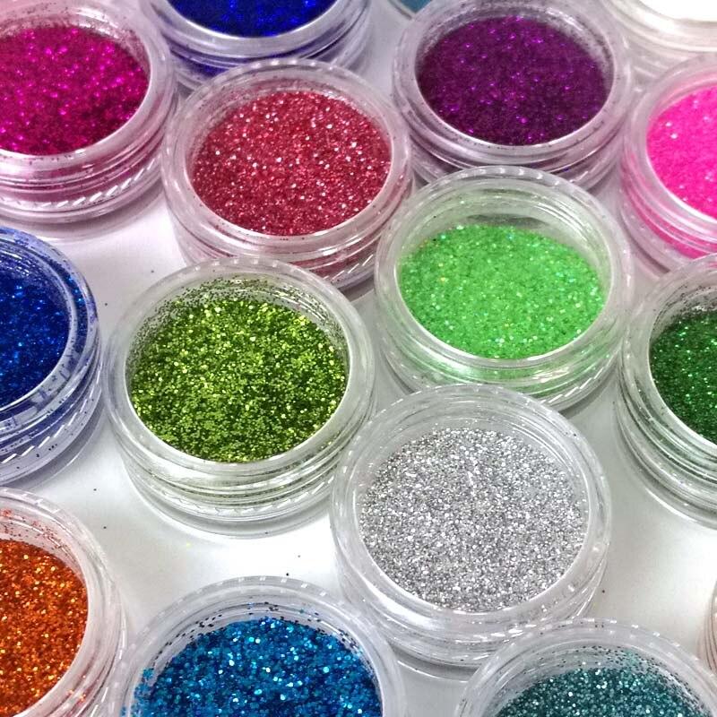 ̀ •́ 50g acrílico brillo Polvos de maquillaje de color de uñas de ...