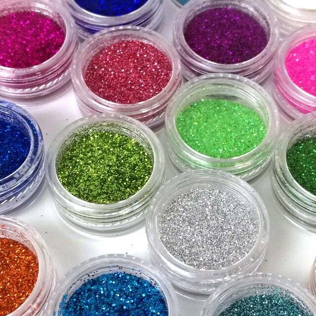 24 lentejuelas de Color arena para Nail Glitter polvo Nailart ...