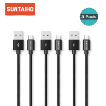 3pcs/lot Suntaiho Micro USB Cable for Samsung Xiaomi 5V 2A Nylon braid Fast Charger Cable 1m 2m 3m  Data Sync Cord for Meizu LG