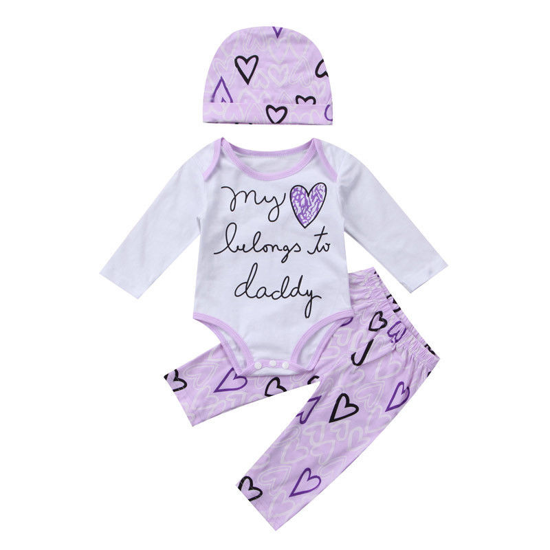 New Style Newborn Baby Girls Clothes Cotton Long Sleeve Romper Heart Pants Hat Outfits Baby Clothing Set