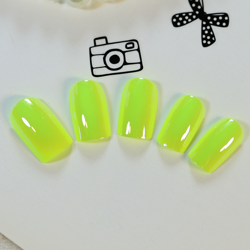 24pcs/kit Lemon Yellow Mirror Acrylic Nails Simple Medium Design ...