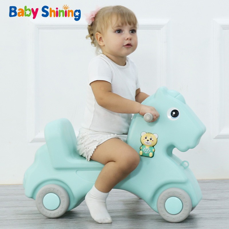 Baby Shining Horse Toy Baby Rocking Horse Plastic L 1 6 Year Old Riding Car Kids
