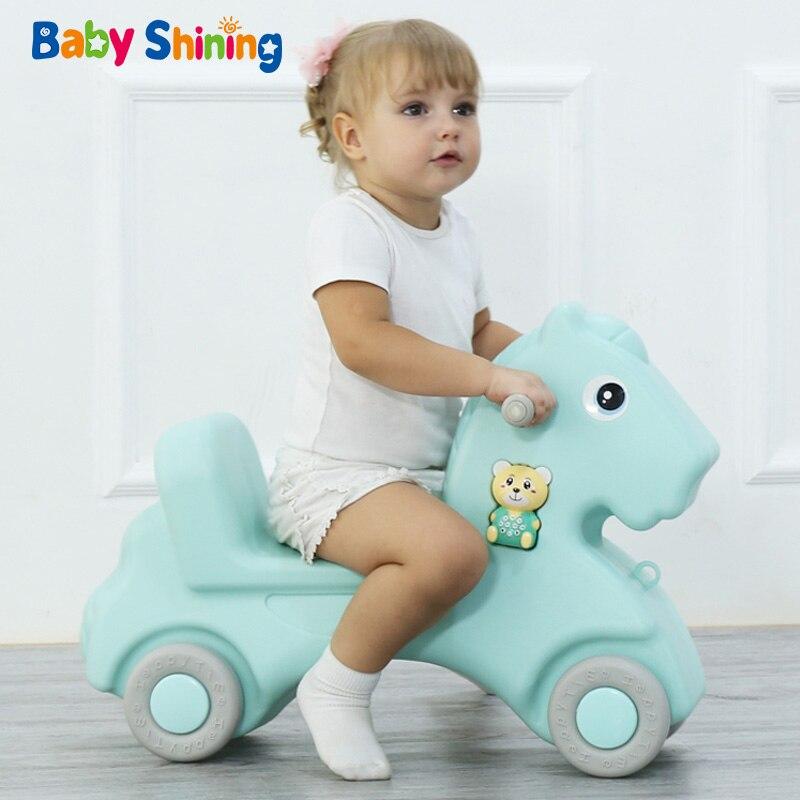 Детская блестящая лошадка, детская игрушка качалка, пластиковая игрушка для детей 1 6 лет, детская машинка качалка, детская комната, развивающие игрушки