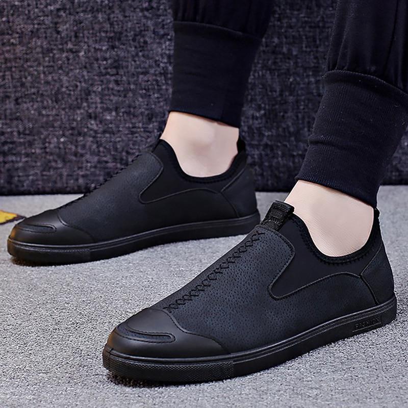 PU men formal shoes round toe Elastic band loafers men breathable comfortable social male shoe 2018 basic fashion