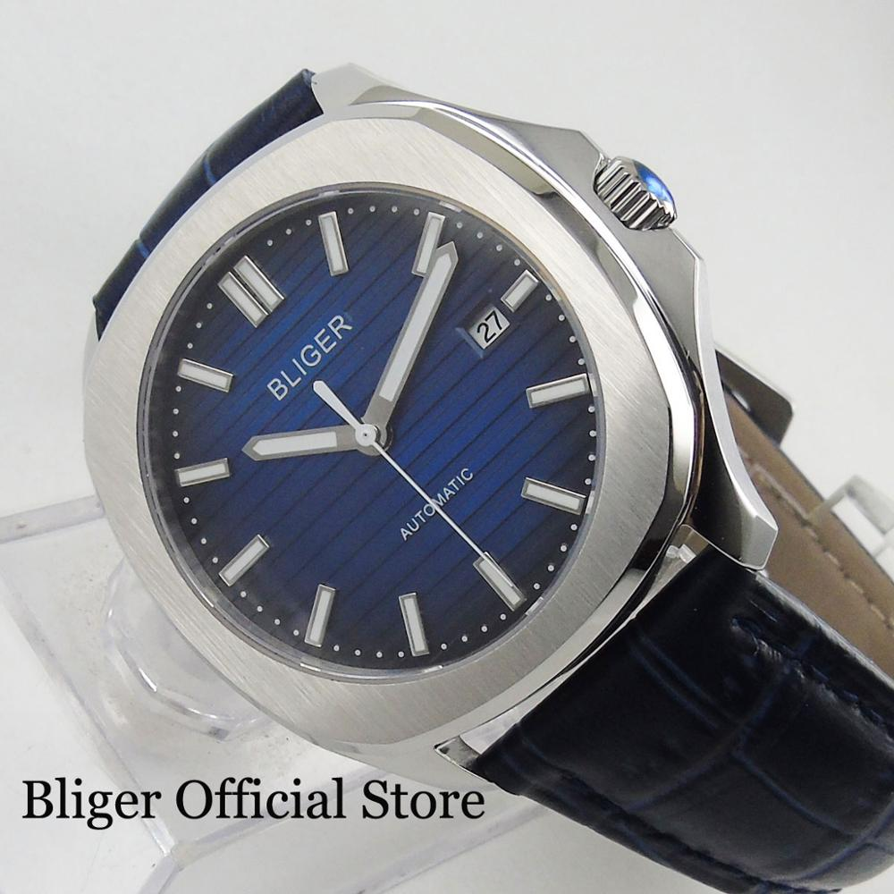 Dress Sapphire Glass 39mm Blue Men's Watch With Automatic Movement Date Window-in Mechanical Watches from Watches    1