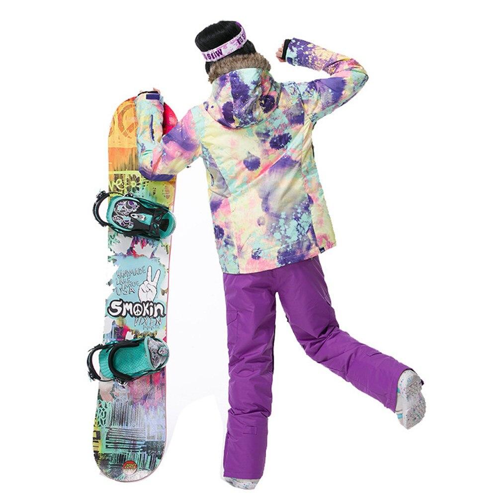 GSOU marca de nieve chaqueta de esquí traje de esquí de las mujeres impermeable Snowboard chaqueta de abrigo de invierno con capucha de piel caliente al aire libre de nieve esquí - 5