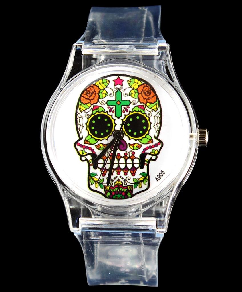 Rose bloem schedel hart kwaad duivel skeleton quartz horloge mode - Dameshorloges - Foto 2