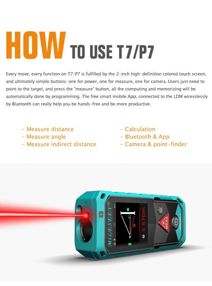 mileseey P7 Télémètre laser rotatif écran tactile Laser mètre Bluetooth
