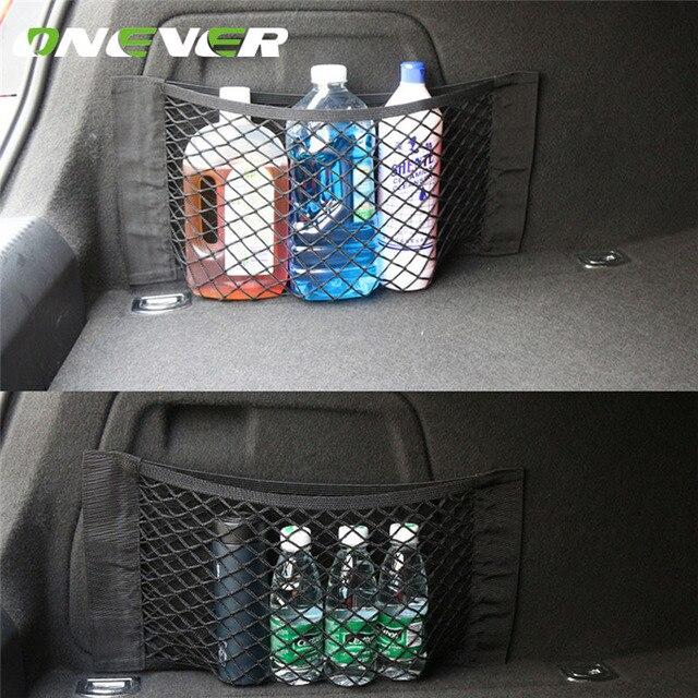 Onever Car Trunk Storage Mesh Bag Back Rear Elastic Pocket Organizer Magic Tape Sticking Styling Luggage Holder Pocket Sticker