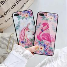 IMIDO Full Color Pattern The Glass Cases For iphone 6/7/8/X Case Cute Simple Anti-fall Lanyard Fashion 7 Back Cover