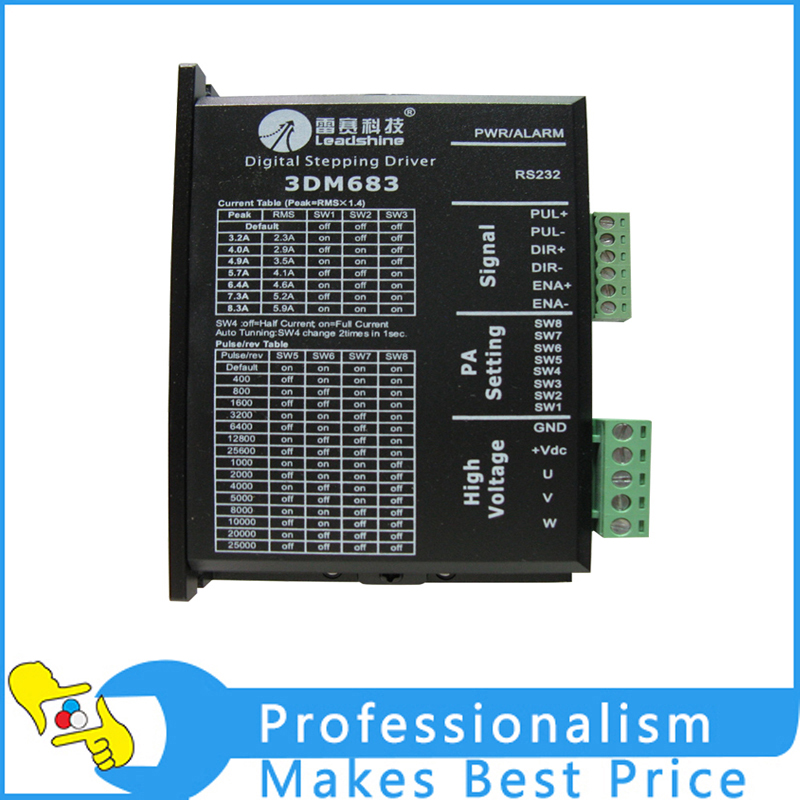New Leadshine 3DM683 Digital Stepper Drive work parameter 60 VDC 0.5A to 8.3A genuine leadshine acs606 dc input brushless servo drive with 18 to 60 vdc input voltage and 6a continuous 18a current