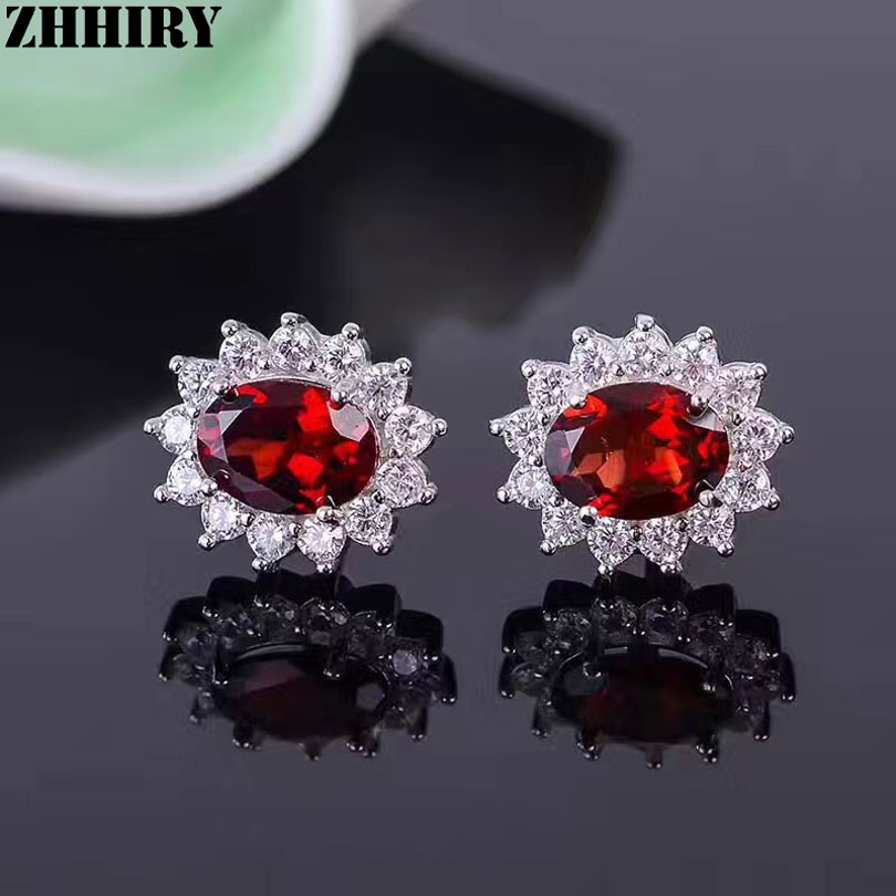 Fine Jewelry Genuine Red Garnet Sterling Silver 10mm Stud Earrings flgFPc