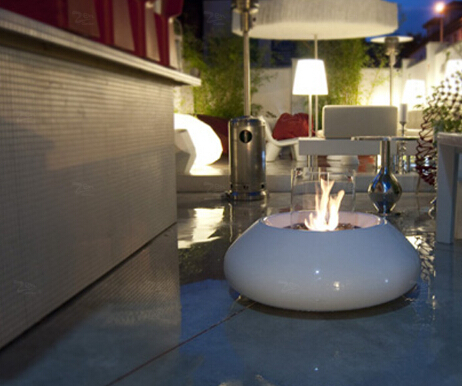 Coffee Table Round Glass Ethanol Fireplace ...