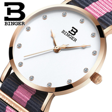 Швейцария БИНГЕР женщины часы люксовый бренд ультратонкий ограниченным тиражом Водонепроницаемый любителей кварцевые Наручные Часы B-3050W-8