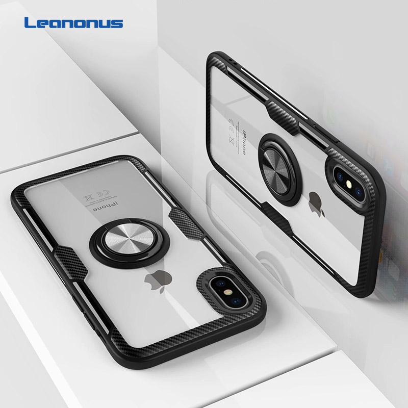 Clear Acrylic Finger Ring Phone Case For Iphone X Xs Max Xr Case Soft Tpu Bumper Silicone Cover For Iphone 6s 6 7 8 Plus Coque