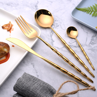 Hot Sale 4 pieces Bamboo Portugal gold Dinnerware 304 Stainless Steel Western Cutlery Kitchen Food Tableware Dinner Set