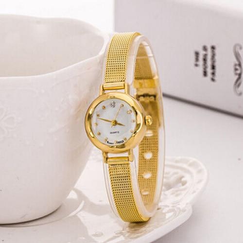 Venta caliente de las mujeres de moda de malla de aleación fina rhinestone  banda reloj de pulsera de cuarzo pulsera 265ae424af56