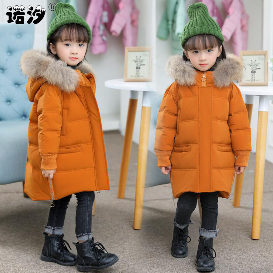 все цены на Baby boys clothes girls winter thickening white duck down jacket baby girls long style warm coat unisex tops 1-7Y baby outwear